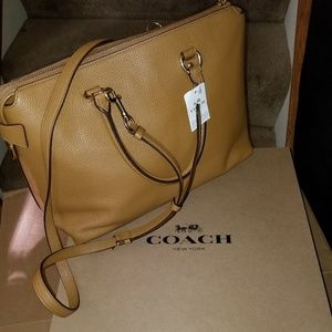 NWT COACH Ema satchel w/crossbody strap in saddle